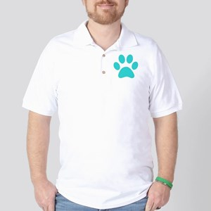 Turquoise Paw print Golf Shirt