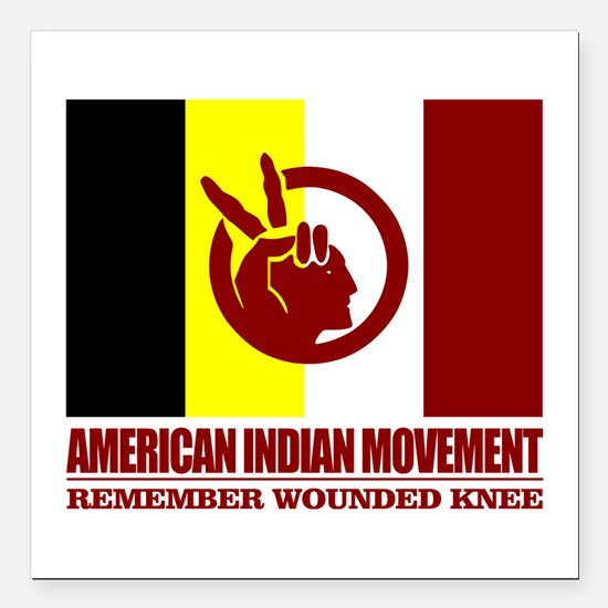 """American Indian Movement Square Car Magnet 3"""" x 3"""""""
