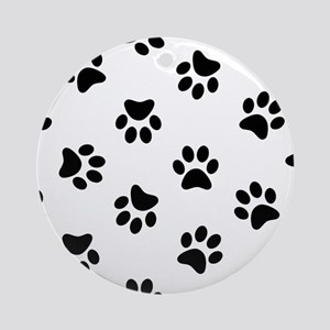 Black Pawprint pattern Ornament (Round)