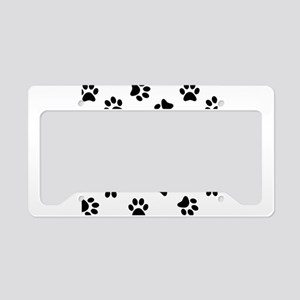 bd4f99d86f Car Accessories. Black Pawprint pattern License Plate Holder