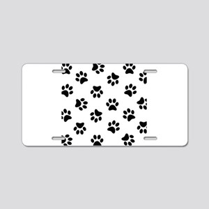 Black Pawprint pattern Aluminum License Plate