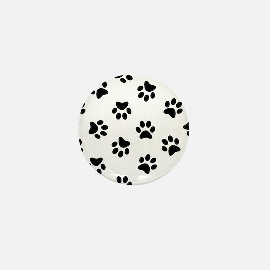 Black Pawprint pattern Mini Button (10 pack)