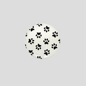 Black Pawprint pattern Mini Button