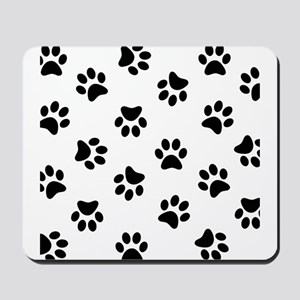 Black Pawprint pattern Mousepad