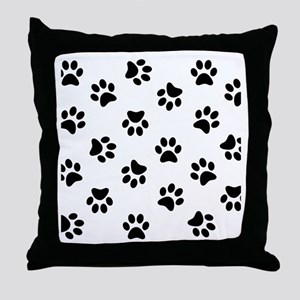 Black Pawprint pattern Throw Pillow