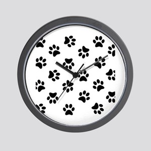 Black Pawprint pattern Wall Clock