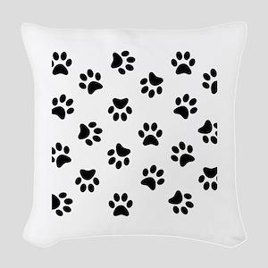 Black Pawprint pattern Woven Throw Pillow