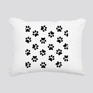 Black Pawprint pattern Rectangular Canvas Pillow