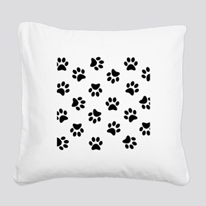 Black Pawprint pattern Square Canvas Pillow