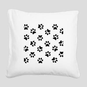 Black Pawprint pattern Square Canvas Pillow
