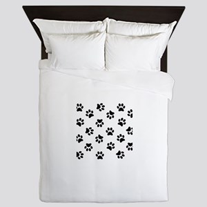 Black Pawprint pattern Queen Duvet