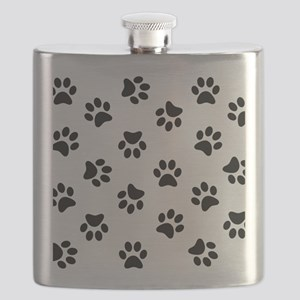 Black Pawprint pattern Flask
