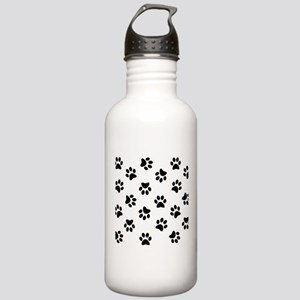 Black Pawprint pattern Sports Water Bottle