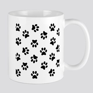 Black Pawprint pattern Mugs