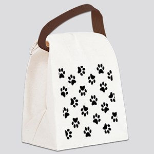 Black Pawprint pattern Canvas Lunch Bag