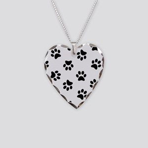 Black Pawprint pattern Necklace Heart Charm