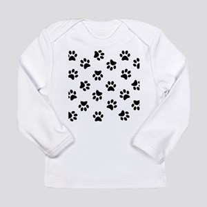 Black Pawprint pattern Long Sleeve T-Shirt