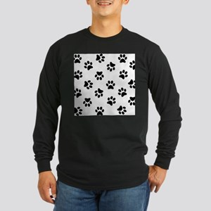 Black Pawprint pattern Long Sleeve T-Shirt