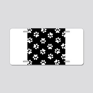 Black and white Pawprint pattern Aluminum License
