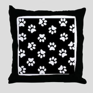 Black and white Pawprint pattern Throw Pillow
