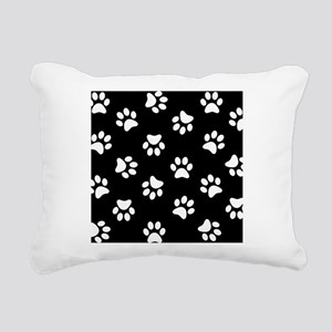 Black and white Pawprint pattern Rectangular Canva