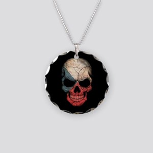 Czech Republic Flag Skull on Black Necklace Circle