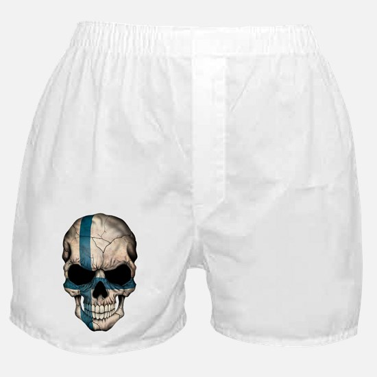 Finnish Flag Skull Boxer Shorts