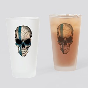 Finnish Flag Skull Drinking Glass