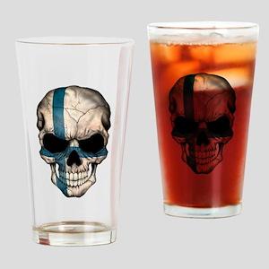 Finnish Flag Skull Drinking Glass