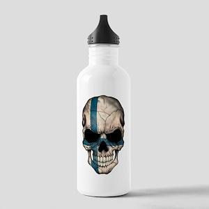 Finnish Flag Skull Water Bottle