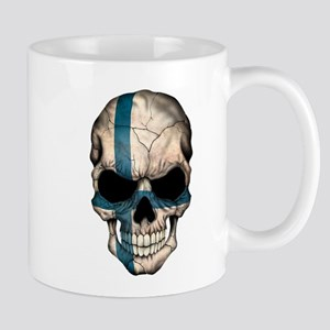 Finnish Flag Skull Mugs