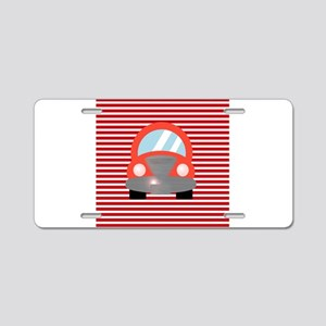 Red Car on Red and White Stripes Aluminum License