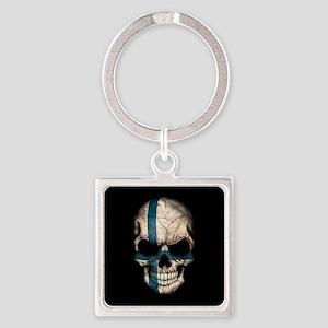 Finnish Flag Skull on Black Keychains