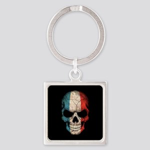 French Flag Skull on Black Keychains