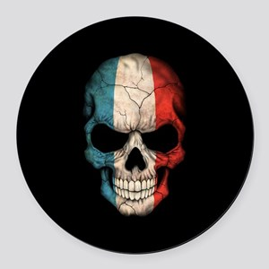 French Flag Skull on Black Round Car Magnet