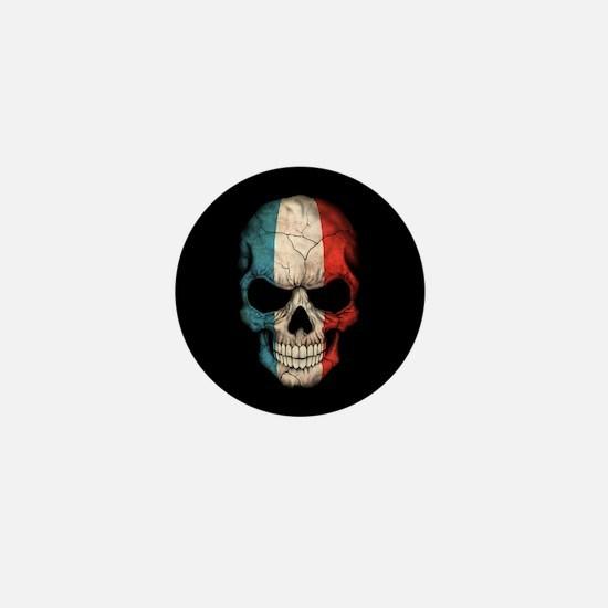 French Flag Skull on Black Mini Button