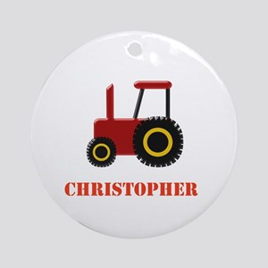 Personalised Red Tractor Ornament (Round)