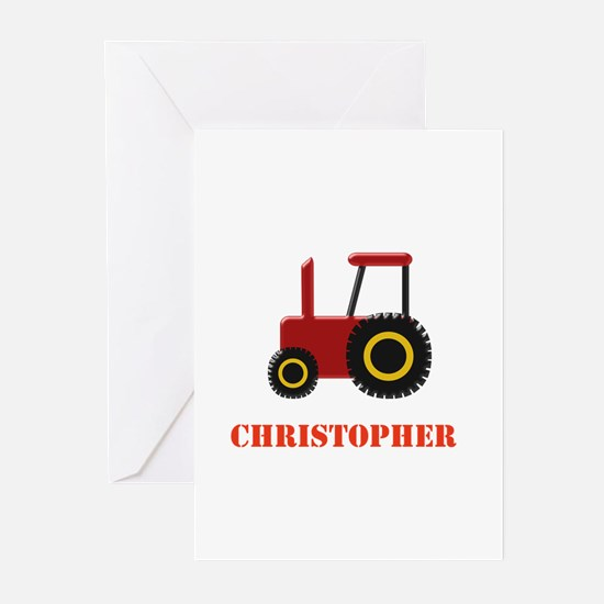 Personalised Red Tractor Greeting Cards