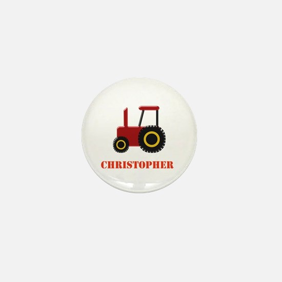 Personalised Red Tractor Mini Button