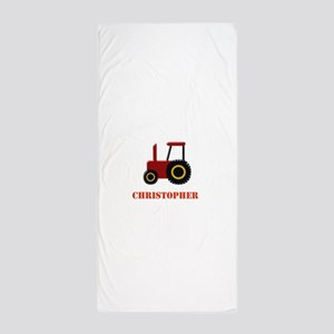 Personalised Red Tractor Beach Towel