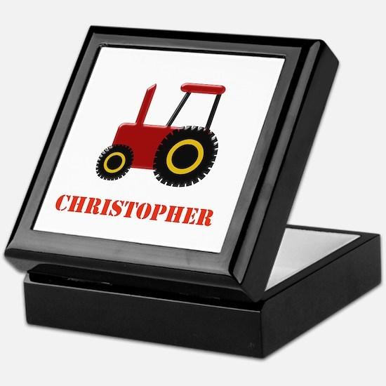 Personalised Red Tractor Keepsake Box