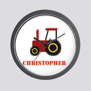 Personalised Red Tractor Wall Clock