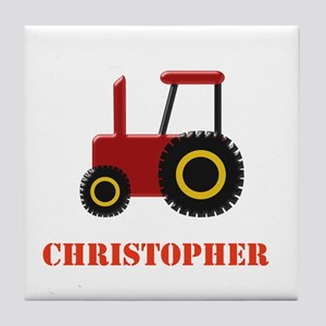 Personalised Red Tractor Tile Coaster