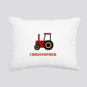 Personalised Red Tractor Rectangular Canvas Pillow