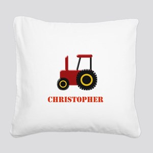 Personalised Red Tractor Square Canvas Pillow