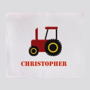 Personalised Red Tractor Throw Blanket