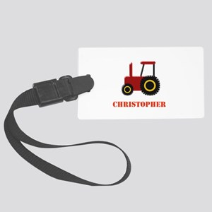 Personalised Red Tractor Large Luggage Tag