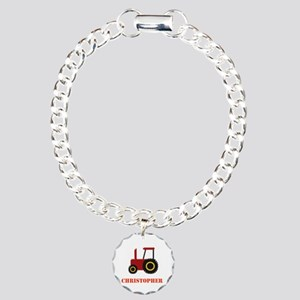 Personalised Red Tractor Charm Bracelet, One Charm