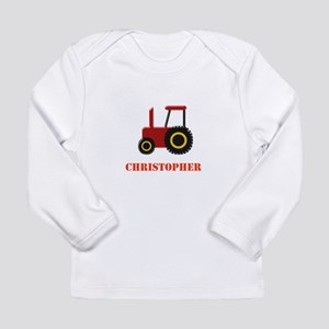 Personalised Red Tractor Long Sleeve T-Shirt