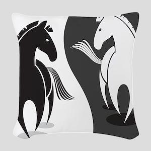 Yin Yang Horses Woven Throw Pillow